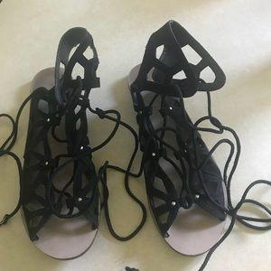 Zara black suede gladiator sandals.